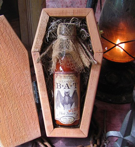 Bloody Bat Hot Sauce in a Coffin