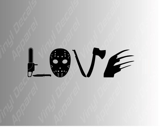 Love horror movie die cut vinyl decal sticker