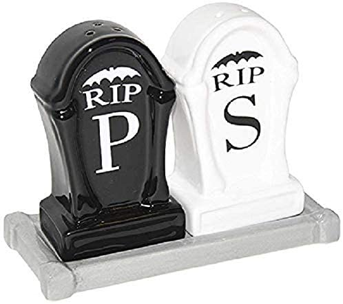RIP Tombstone Shaped Salt and Pepper Shaker Set