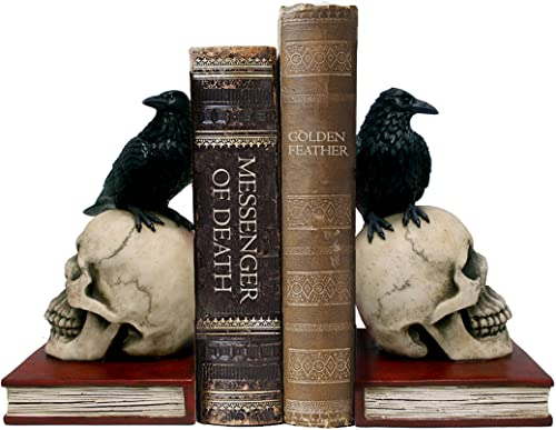 Ravens on Skulls Bookends